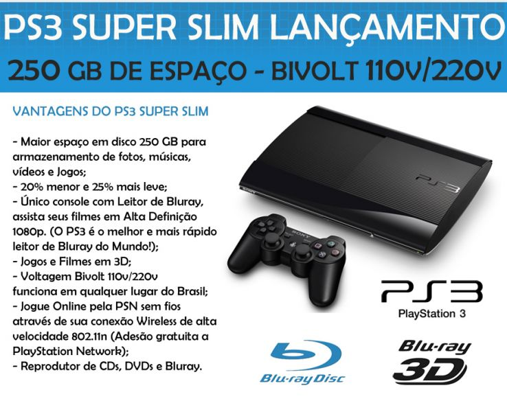 Playstation 3 Super Slim 250GB Bivolt Blu-ray HDMI