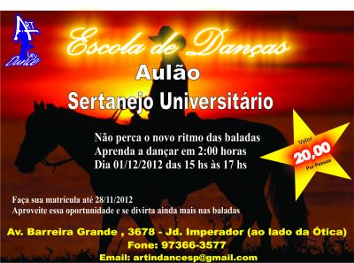 Sertanejo Universitário R$ 20,00 - Jd. Imperador