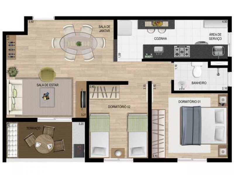 Apartamento do lado shopping 2 e 3 dorms