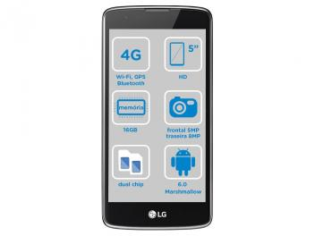 Smartphone LG K8 16GB Dual Chip 4G Câm. 8MP - Selfie 5MP Tela 5' Proc. Quad-Core Android 6.0